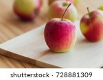 stack of fuji apple and on... | Shutterstock . vector #728881309
