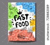 fastfood cafe poster. bright... | Shutterstock .eps vector #728882089