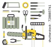 working hand tools for repair... | Shutterstock .eps vector #728885761