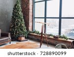 christmas tree with wooden... | Shutterstock . vector #728890099