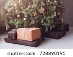 christmas tree with wooden... | Shutterstock . vector #728890195