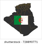 grey map of algeria and...