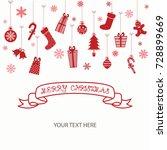merry christmas invitation card.... | Shutterstock .eps vector #728899669