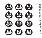 set pumpkins for halloween.... | Shutterstock .eps vector #728903431