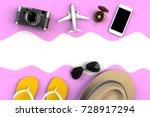 top view of traveler's... | Shutterstock . vector #728917294