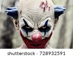 closeup of a scary evil clown... | Shutterstock . vector #728932591