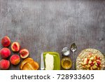 oatmeal with peach  toast with... | Shutterstock . vector #728933605