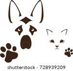 dog and cat  muzzle and paws ... | Shutterstock .eps vector #728939209