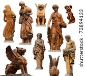 Collection Of Statues Isolated...