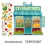 grocery shop facade with... | Shutterstock .eps vector #728953387