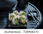 delicious sushi mix with... | Shutterstock . vector #728968171