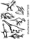 Simple rough woodcut style depictions of dinosaurs. - stock vector