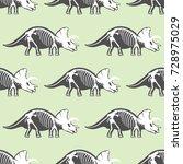 dinosaurs skeletons silhouettes ... | Shutterstock .eps vector #728975029