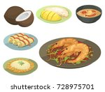 traditional national thai food... | Shutterstock .eps vector #728975701