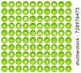 100 economy icons set in green... | Shutterstock . vector #728976475