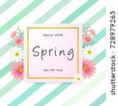 spring sale background with... | Shutterstock .eps vector #728979265