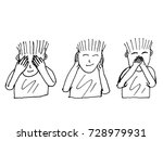 see no evil  hear no evil ... | Shutterstock .eps vector #728979931