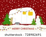 christmas card with winter camp | Shutterstock .eps vector #728982691