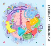 colorful hand drawn winter... | Shutterstock .eps vector #728985595
