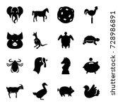 animal icons set. set of 16... | Shutterstock .eps vector #728986891