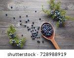 wooden spoon with seeds of... | Shutterstock . vector #728988919