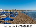 sandy beach  faliraki rhodes ... | Shutterstock . vector #728989891