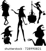 happy halloween set of witches... | Shutterstock .eps vector #728990821