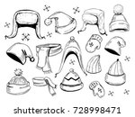 set of hats  scarves  mittens.... | Shutterstock .eps vector #728998471