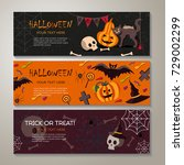 halloween horizontal banners or ... | Shutterstock .eps vector #729002299