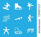 athlete icons set. set of 9... | Shutterstock .eps vector #729007117