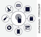 digital icons set. set of 9... | Shutterstock .eps vector #729012649
