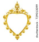 heart shape golden mirror... | Shutterstock .eps vector #729013099