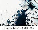 header with spilled ink ... | Shutterstock . vector #729014659
