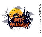 happy halloween poster  night... | Shutterstock .eps vector #729019747