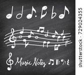 hand drawn chalk grunge notes... | Shutterstock .eps vector #729024355