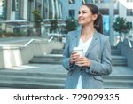 stylish business woman outdoors ... | Shutterstock . vector #729029335