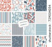 set of 16 vintage seamless... | Shutterstock .eps vector #729034054