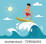 surfer riding the wave. vector... | Shutterstock .eps vector #729036331