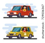 man and girl driving car.... | Shutterstock .eps vector #729036367