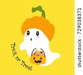 a cute ghost wearing pumpkin... | Shutterstock .eps vector #729038371