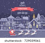 merry christmas and happy new... | Shutterstock .eps vector #729039061