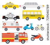transport vehicle collection | Shutterstock .eps vector #729040789