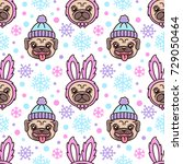 cute seamless pattern with dog... | Shutterstock .eps vector #729050464