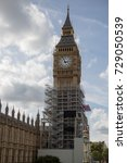 London, 28th September 2017:- The Palace of Westminster, home to the British Parliment with scaffolding due to renovation work on the UNESCO world heritiage site. - stock photo