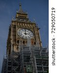 London, 28th September 2017:- The Palace of Westminster, home to the British Parliament with scaffolding due to renovation work on the UNESCO world heritage site. - stock photo