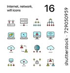 colored internet  network  wifi ... | Shutterstock .eps vector #729050959