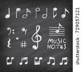 hand drawn chalk grunge notes... | Shutterstock .eps vector #729057121