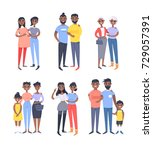 set of different couples and... | Shutterstock .eps vector #729057391