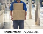 male postal delivery courier... | Shutterstock . vector #729061801