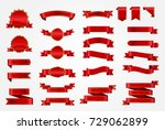 ribbon vector icon set red... | Shutterstock .eps vector #729062899